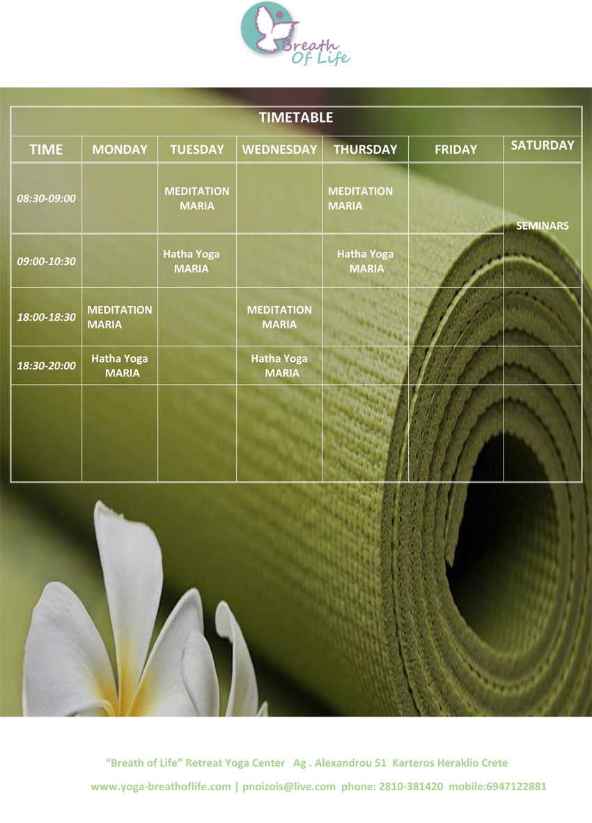 timetable yoga breath of lfe